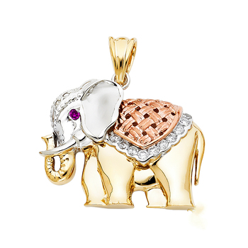 14K Tri Color Yellow Rose White Gold Cubic Zirconia Elephant Pendant 27mm x 33mm