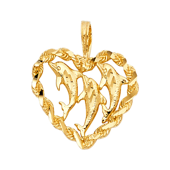 14K Yellow Gold Heart with Dolphin Pendant - 16 mm X 17 mm