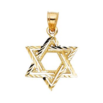 14K Yellow Gold Star of David Pendant - 19 mm X 18 mm