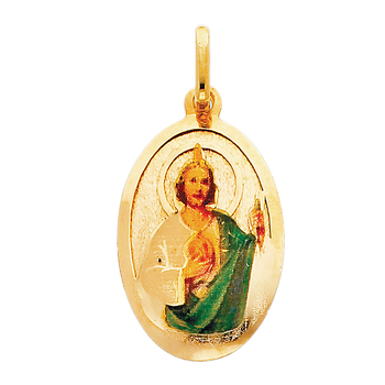 14K Yellow Gold St. Jude Enamel Picture Religious Pendant - 28 mm X 18 mm