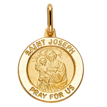 14K Yellow Gold St. Joseph Religious Pendant - 16 mm X 15 mm