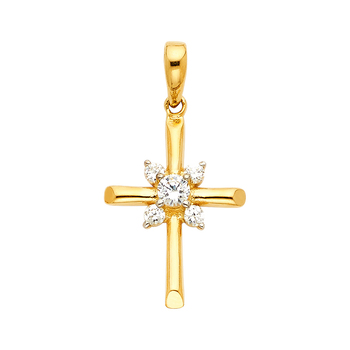 14K Yellow Gold  Cubic Zirconia  Religious Cross Pendant - 20mm X 15 mm