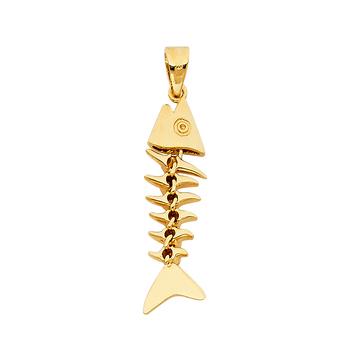 14K Yellow Gold  Motion Fish Bone Pendant
