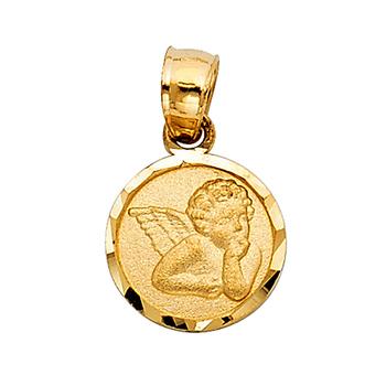 14K Yellow Gold Angel Religious Pendant - 12 mm X 10 mm