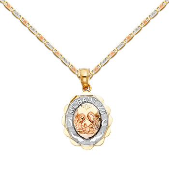 """14K Tri Color Yellow White Rose Gold Baptism Religious Pendant with 1.5mm Valentono Chain - 18"""""""