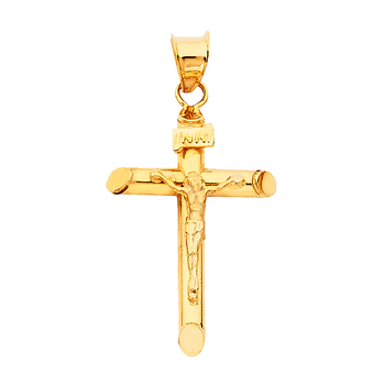 14K Yellow Gold Crucifix Pendant - Suitable for Men & Women -  25 mm X 17 mm