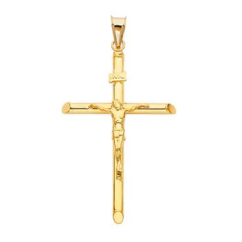 14K Yellow Gold Crucifix Pendant - Suitable for Men & Women - 42 mm X 28 mm