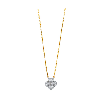 """14K Real Yellow Gold Cubic zirconia Flower Necklace - 17+1"""""""