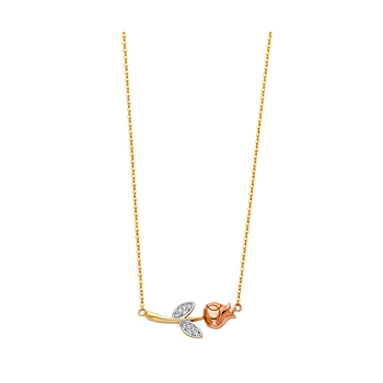 """14K Tri Color Yellow Rose White Gold Cubic zirconia Flower Necklace - 17+1"""""""