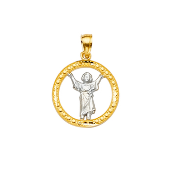 14K Two Tone Yellow and White Gold Baby Jesus Pendant - Suitable for Men & Women - 22 mm X 16 mm