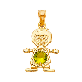 14K Yellow Gold Birthstone Cubic zirconia Boy Pendant - August