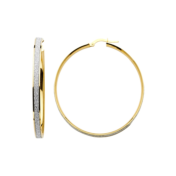 14K Two Tone Yellow and White Gold 4mm Sparkling Center Hoop Earrings - Diameter - 30 MM