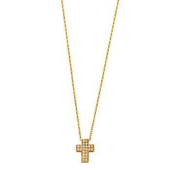 "14K Yellow Gold Cubic zirconia Cross Necklace - 17+1"""