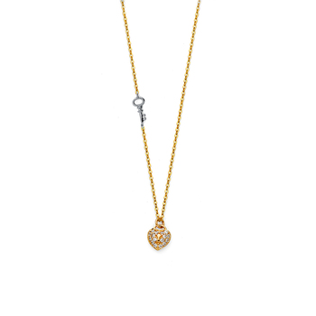 """14K Two Tone Yellow and White Gold Micro Pave Cubic zirconia Necklace - 17+1"""""""