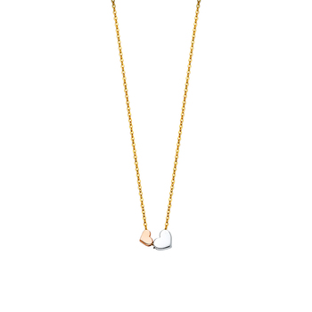"""14K Tri Color Yellow Rose White Gold Cubic zirconia Necklace - 17+1"""""""