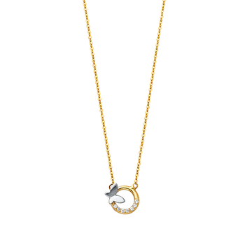 """14K Yellow Gold Cubic Zirconia Spring Ring Clasp Type Cross Necklace - 17+1"""""""