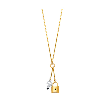 """14K Two Tone Yellow and White Gold  Key & Lock Necklace - 17+1"""""""