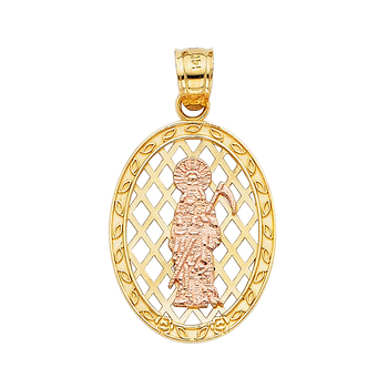 14K Two Tone Yellow and Rose Gold Religious Santa Muerte Pendant - 26  mm X 19 mm