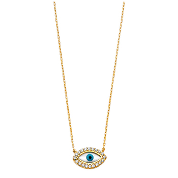 """14K Yellow Gold Cubic Zirconia Evil Eye Necklace - 17+1"""""""