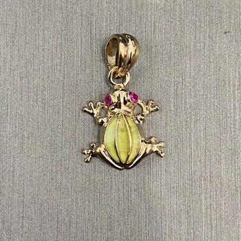 14K Yellow Gold Frog Pendant`- 13 mm X 13 mm