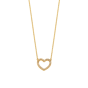 """14K Yellow Gold Pave Cubic Zirconia Open Necklace - 17+1"""""""