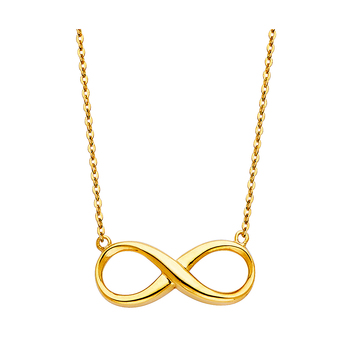 """14K Yellow Gold Infinity Necklace - 17+1"""""""