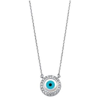 "14K White Gold Cubic Zirconia Evil Eye Necklace - 17+1"""