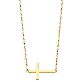 """14K Yellow Gold Side Way Cross Necklace - 17+1"""""""