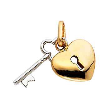 14K Two Tone Yellow and White Gold Key to My Heart Pendant - 13 mm X 20 mm
