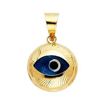 14K Yellow Gold Evil Eye Fluted Pendant - 13 mm X 13 mm