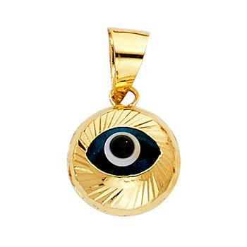 14K Yellow Gold Evil Eye Fluted Pendant - 11 mm X 10 mm