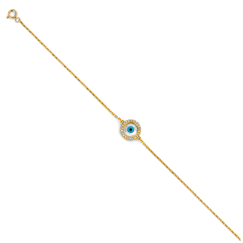 "14K Yellow Gold Evil Eye Chain Bracelet - 7+1"""