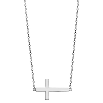 """14K White Gold Side Way Cross Necklace - 17+1"""""""