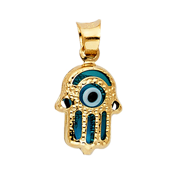 14K Yellow Gold Evil Eye Hamsa Pendant - 11 mm X 9mm