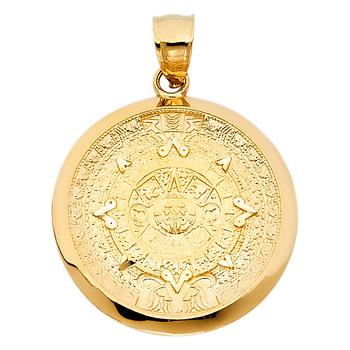 "Gold Aztec Charm Mayan Calendar Pendant, 1"" Diameter"