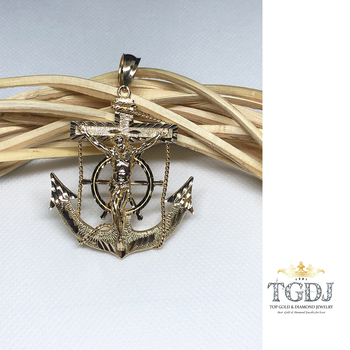 "14k Yellow Gold Mariner Crucifix Anchor Cross Pendant - 2.1"" Inch"