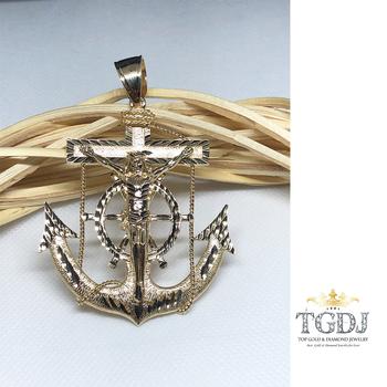 "14k Yellow Gold Mariner Crucifix Anchor Cross Pendant - 2.5"" Inch"