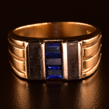 Estate 14k Gold Synthetic Sapphire Onyx Fashion Ring